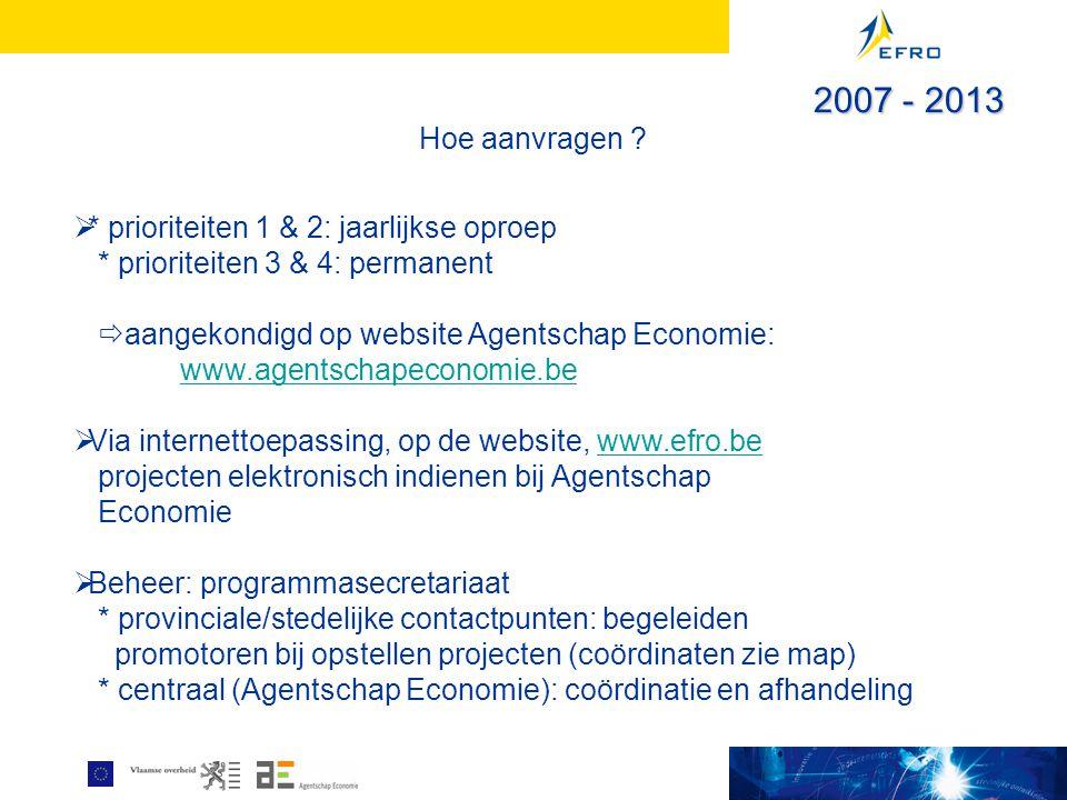 Hoe aanvragen ?  * prioriteiten 1 & 2: jaarlijkse oproep * prioriteiten 3 & 4: permanent  aangekondigd op website Agentschap Economie: www.agentscha