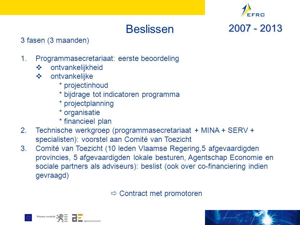 Beslissen 3 fasen (3 maanden) 1.Programmasecretariaat: eerste beoordeling  ontvankelijkheid  ontvankelijke * projectinhoud * bijdrage tot indicatoren programma * projectplanning * organisatie * financieel plan 2.Technische werkgroep (programmasecretariaat + MINA + SERV + specialisten): voorstel aan Comité van Toezicht 3.Comité van Toezicht (10 leden Vlaamse Regering,5 afgevaardigden provincies, 5 afgevaardigden lokale besturen, Agentschap Economie en sociale partners als adviseurs): beslist (ook over co-financiering indien gevraagd)  Contract met promotoren 2007 - 2013