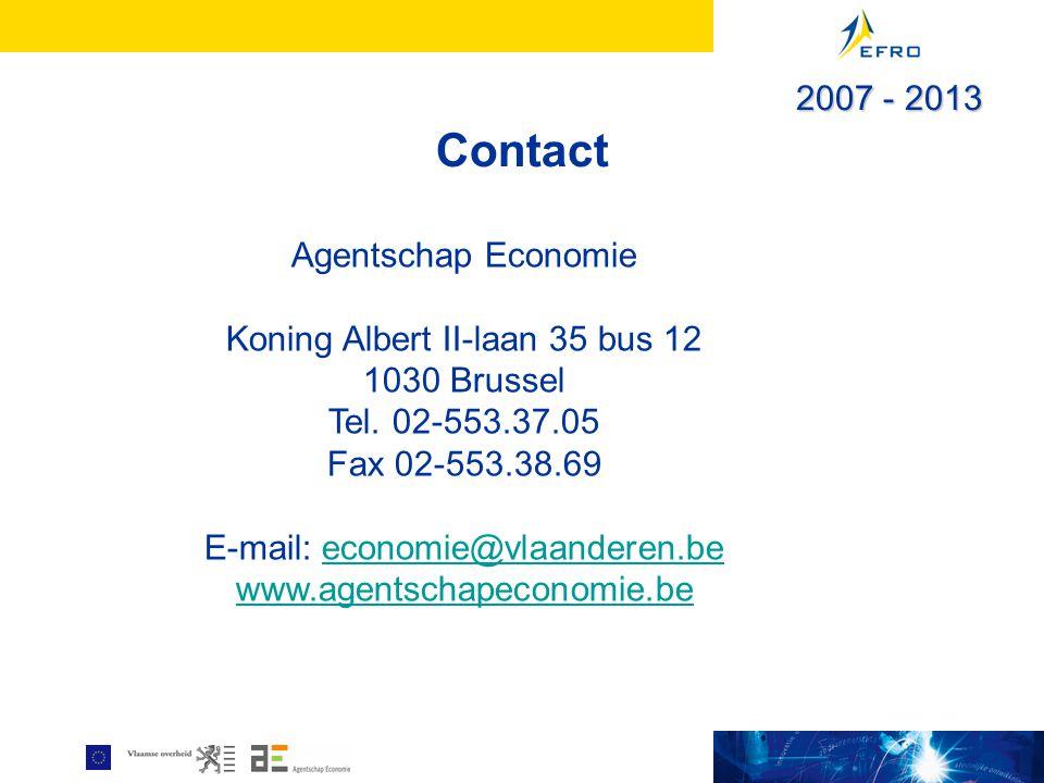 Contact Agentschap Economie Koning Albert II-laan 35 bus 12 1030 Brussel Tel. 02-553.37.05 Fax 02-553.38.69 E-mail: economie@vlaanderen.beeconomie@vla