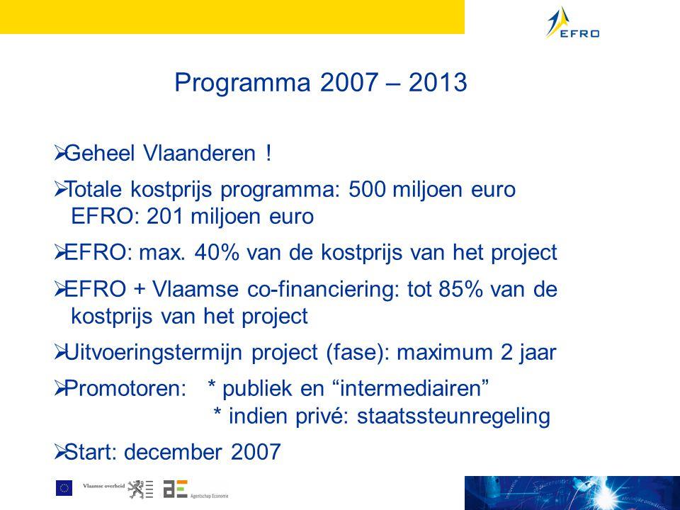 Programma 2007 – 2013  Geheel Vlaanderen !  Totale kostprijs programma: 500 miljoen euro EFRO: 201 miljoen euro  EFRO: max. 40% van de kostprijs va