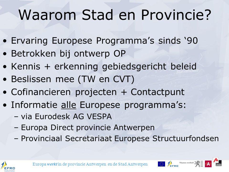 Europa werkt in de provincie Antwerpen en de Stad Antwerpen Waarom Stad en Provincie? Ervaring Europese Programma's sinds '90 Betrokken bij ontwerp OP