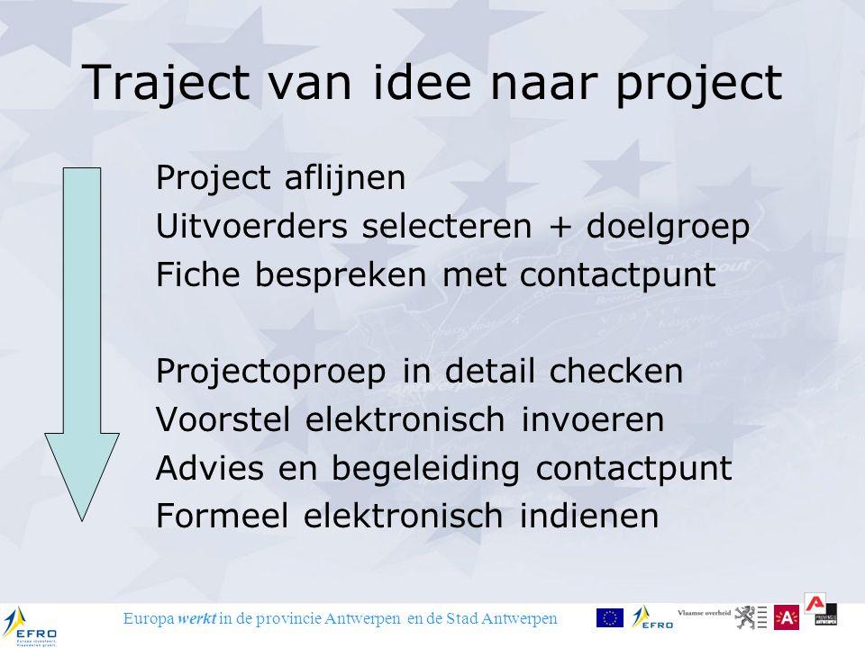 Europa werkt in de provincie Antwerpen en de Stad Antwerpen Traject van idee naar project Project aflijnen Uitvoerders selecteren + doelgroep Fiche be