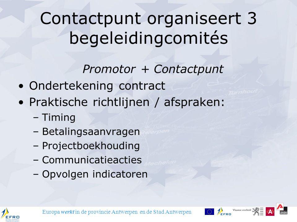 Europa werkt in de provincie Antwerpen en de Stad Antwerpen Contactpunt organiseert 3 begeleidingcomités Promotor + Contactpunt Ondertekening contract