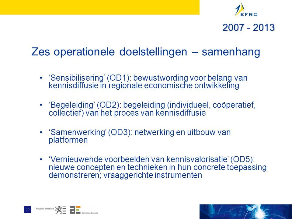 Zes operationele doelstellingen – samenhang 'Sensibilisering' (OD1): bewustwording voor belang van kennisdiffusie in regionale economische ontwikkeling 'Begeleiding' (OD2): begeleiding (individueel, coöperatief, collectief) van het proces van kennisdiffusie 'Samenwerking' (OD3): netwerking en uitbouw van platformen 'Vernieuwende voorbeelden van kennisvalorisatie' (OD5): nieuwe concepten en technieken in hun concrete toepassing demonstreren; vraaggerichte instrumenten 2007 - 2013