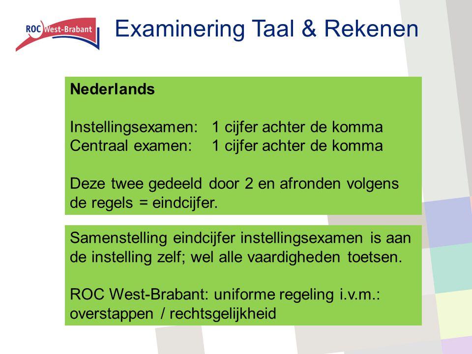 Examinering Taal & Rekenen Nederlands Instellingsexamen:1 cijfer achter de komma Centraal examen:1 cijfer achter de komma Deze twee gedeeld door 2 en