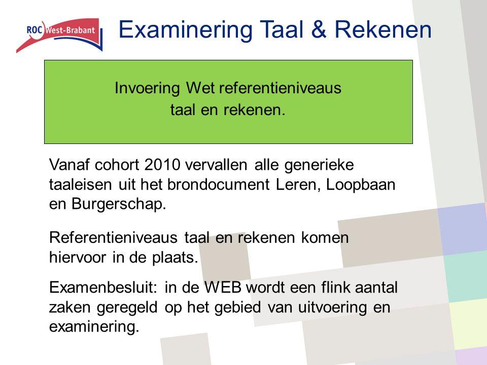 Invoering Wet referentieniveaus taal en rekenen. Vanaf cohort 2010 vervallen alle generieke taaleisen uit het brondocument Leren, Loopbaan en Burgersc
