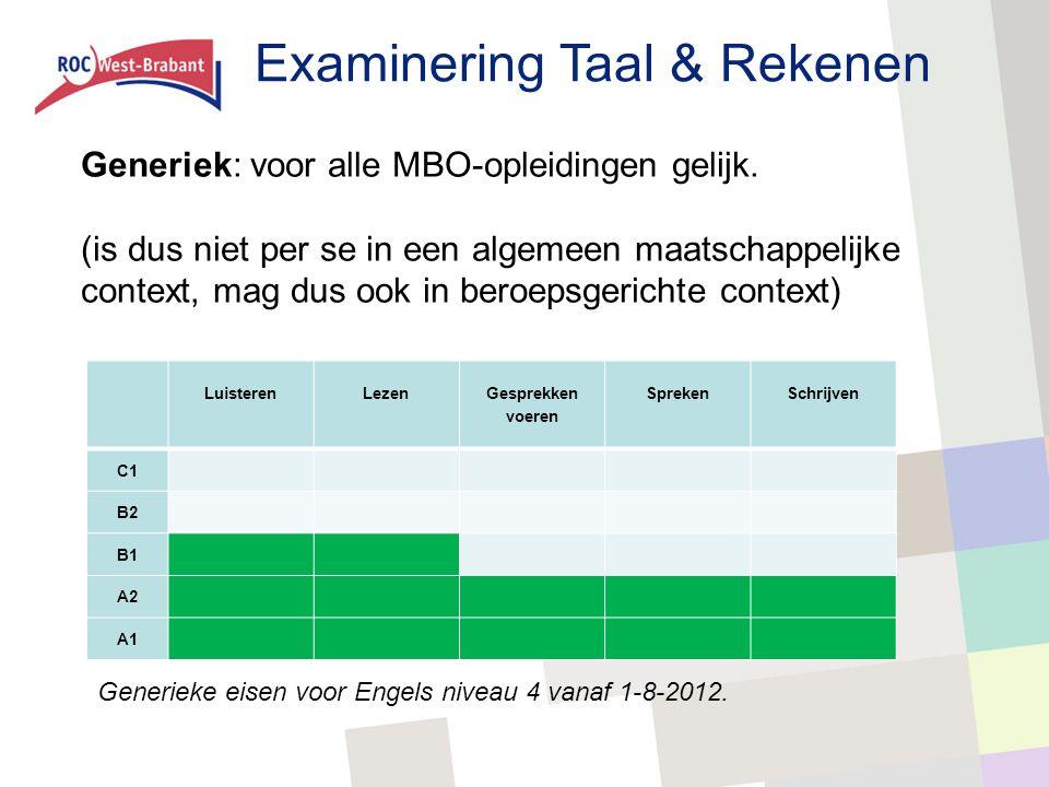 Examinering Taal & Rekenen Generiek: voor alle MBO-opleidingen gelijk. (is dus niet per se in een algemeen maatschappelijke context, mag dus ook in be