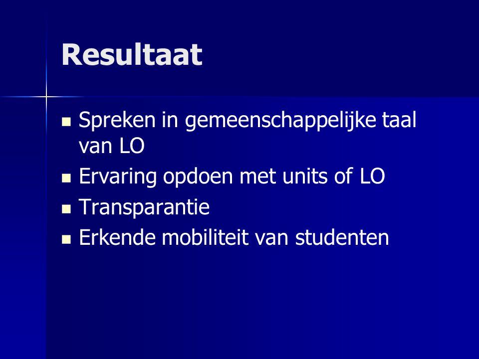 Resultaat Spreken in gemeenschappelijke taal van LO Ervaring opdoen met units of LO Transparantie Erkende mobiliteit van studenten
