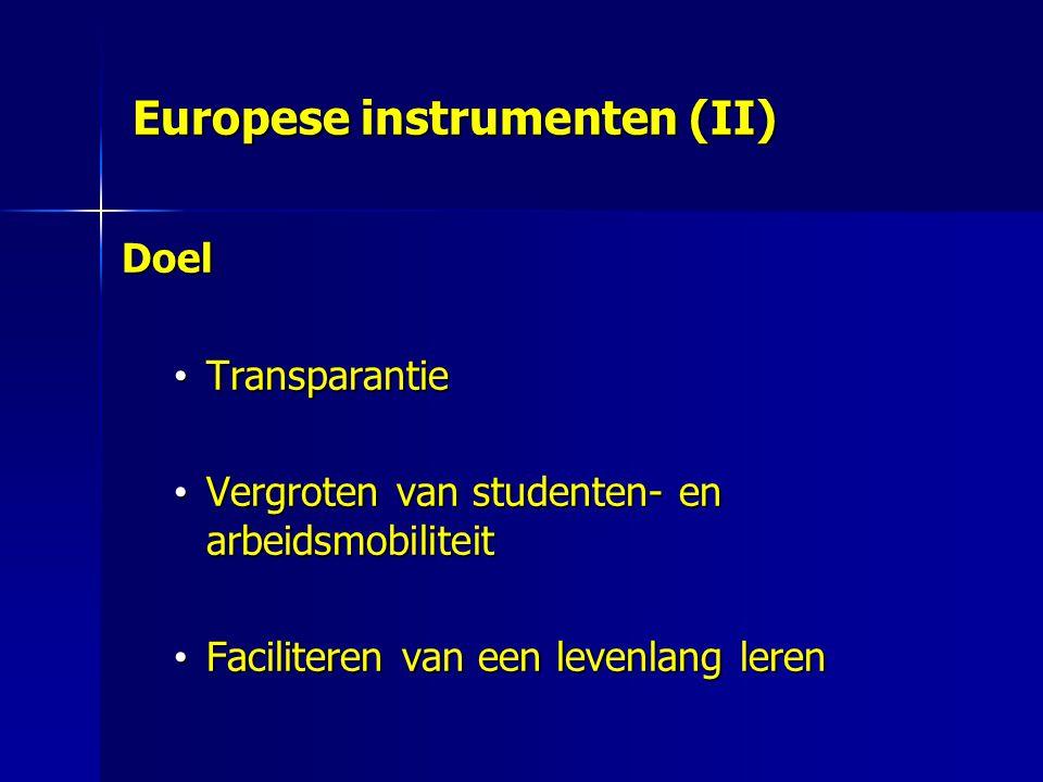 Europese instrumenten (II) Doel Transparantie Transparantie Vergroten van studenten- en arbeidsmobiliteit Vergroten van studenten- en arbeidsmobiliteit Faciliteren van een levenlang leren Faciliteren van een levenlang leren