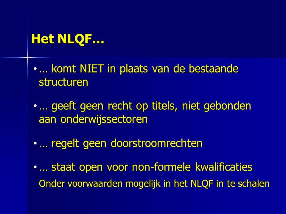 Het NLQF… … komt NIET in plaats van de bestaande structuren … komt NIET in plaats van de bestaande structuren … geeft geen recht op titels, niet gebonden aan onderwijssectoren … geeft geen recht op titels, niet gebonden aan onderwijssectoren … regelt geen doorstroomrechten … regelt geen doorstroomrechten … staat open voor non-formele kwalificaties … staat open voor non-formele kwalificaties Onder voorwaarden mogelijk in het NLQF in te schalen