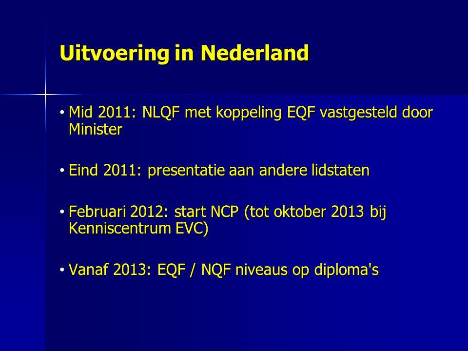 Uitvoering in Nederland Mid 2011: NLQF met koppeling EQF vastgesteld door Minister Mid 2011: NLQF met koppeling EQF vastgesteld door Minister Eind 2011: presentatie aan andere lidstaten Eind 2011: presentatie aan andere lidstaten Februari 2012: start NCP (tot oktober 2013 bij Kenniscentrum EVC) Februari 2012: start NCP (tot oktober 2013 bij Kenniscentrum EVC) Vanaf 2013: EQF / NQF niveaus op diploma s Vanaf 2013: EQF / NQF niveaus op diploma s