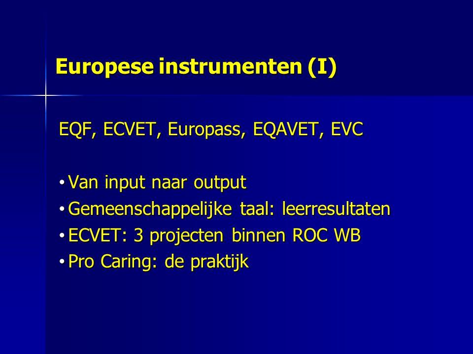 Europese instrumenten (I) EQF, ECVET, Europass, EQAVET, EVC Van input naar output Van input naar output Gemeenschappelijke taal: leerresultaten Gemeenschappelijke taal: leerresultaten ECVET: 3 projecten binnen ROC WB ECVET: 3 projecten binnen ROC WB Pro Caring: de praktijk Pro Caring: de praktijk