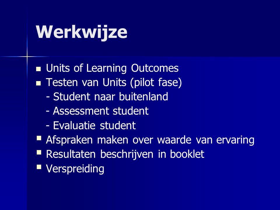 Werkwijze Units of Learning Outcomes Testen van Units (pilot fase) - Student naar buitenland - Assessment student - Evaluatie student   Afspraken maken over waarde van ervaring   Resultaten beschrijven in booklet   Verspreiding