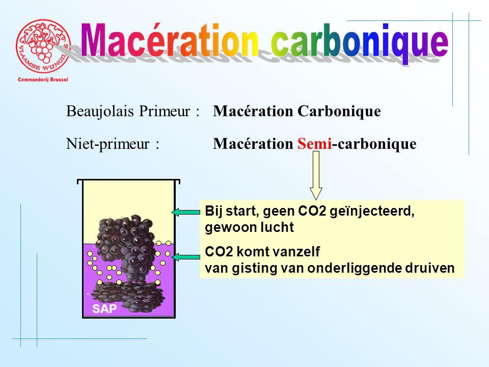 Beaujolais Primeur : Macération Carbonique Niet-primeur :Macération Semi-carbonique SAP Bij start, geen CO2 geïnjecteerd, gewoon lucht CO2 komt vanzelf van gisting van onderliggende druiven