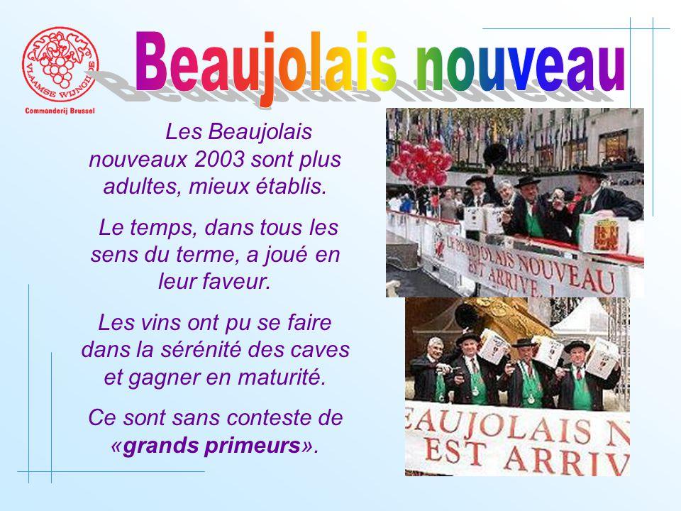 Les Beaujolais nouveaux 2003 sont plus adultes, mieux établis.