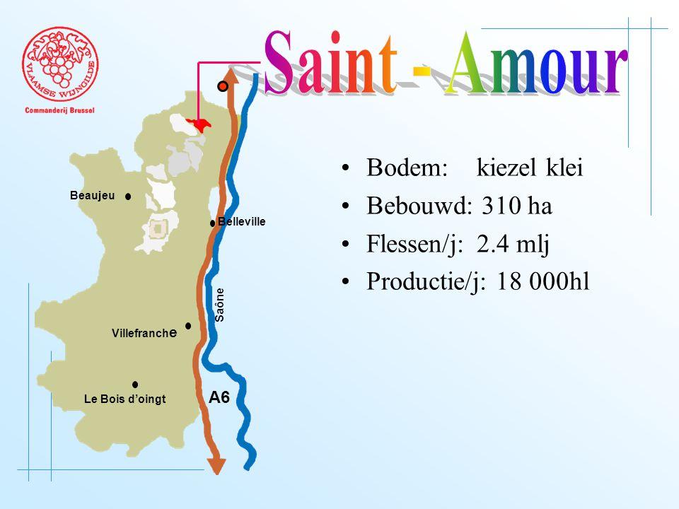 A6 Saône Belleville Le Bois d'oingt Villefranch e Beaujeu Bodem: kiezel klei Bebouwd: 310 ha Flessen/j: 2.4 mlj Productie/j: 18 000hl