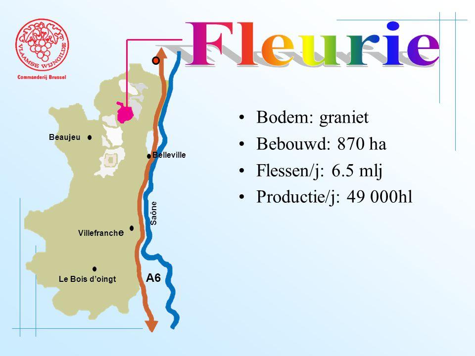 A6 Saône Belleville Le Bois d'oingt Villefranch e Beaujeu Bodem: graniet Bebouwd: 870 ha Flessen/j: 6.5 mlj Productie/j: 49 000hl