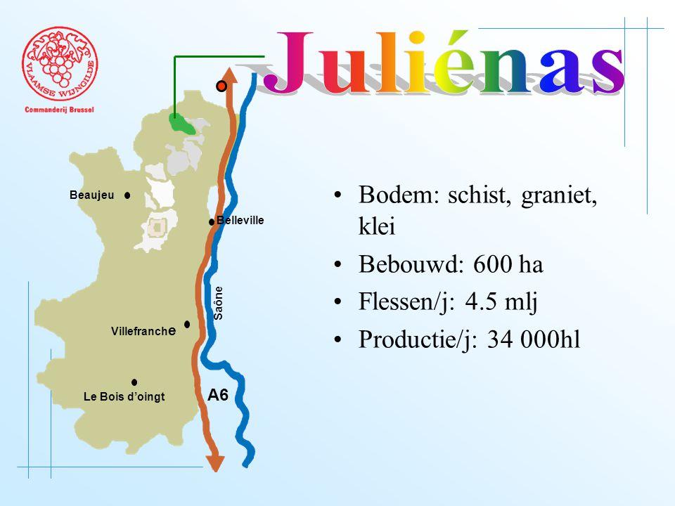 A6 Saône Belleville Le Bois d'oingt Villefranch e Beaujeu Bodem: schist, graniet, klei Bebouwd: 600 ha Flessen/j: 4.5 mlj Productie/j: 34 000hl