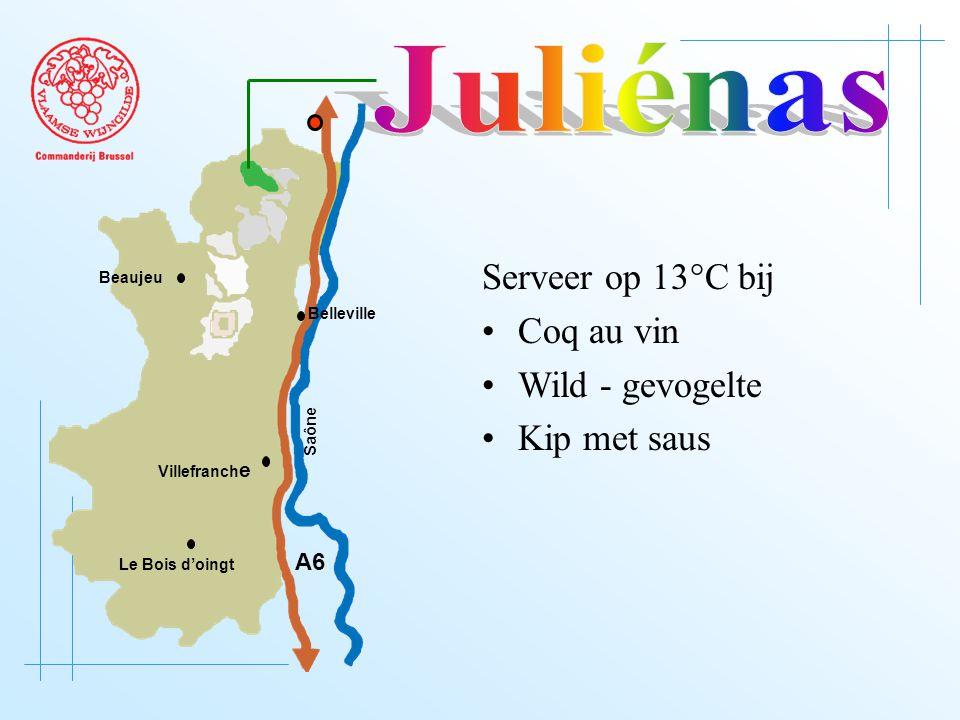 A6 Saône Belleville Le Bois d'oingt Villefranch e Beaujeu Serveer op 13°C bij Coq au vin Wild - gevogelte Kip met saus
