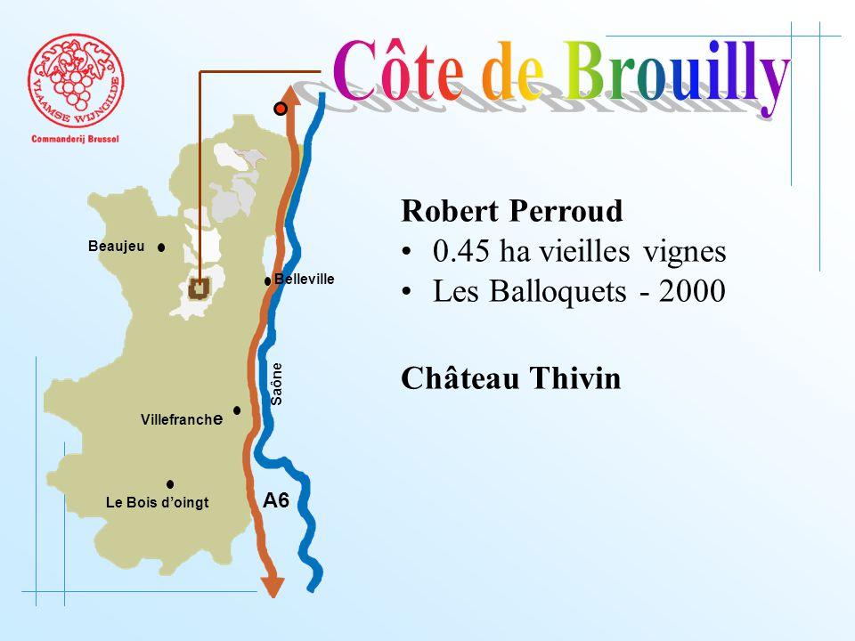 A6 Saône Belleville Le Bois d'oingt Villefranch e Beaujeu Robert Perroud 0.45 ha vieilles vignes Les Balloquets - 2000 Château Thivin