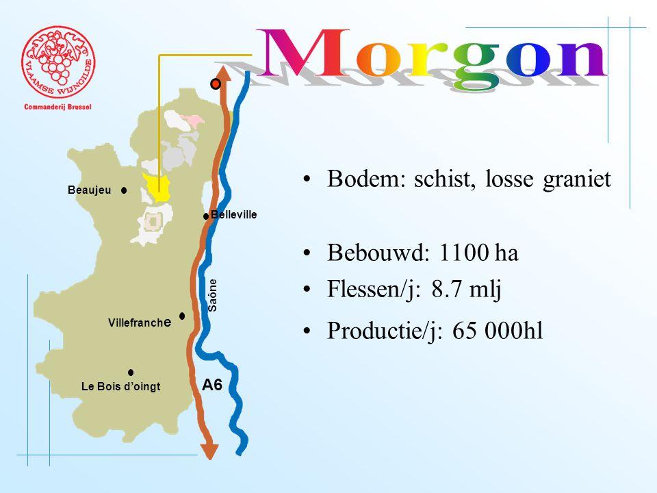 A6 Saône Belleville Le Bois d'oingt Villefranch e Beaujeu Bodem: schist, losse graniet Bebouwd: 1100 ha Flessen/j: 8.7 mlj Productie/j: 65 000hl