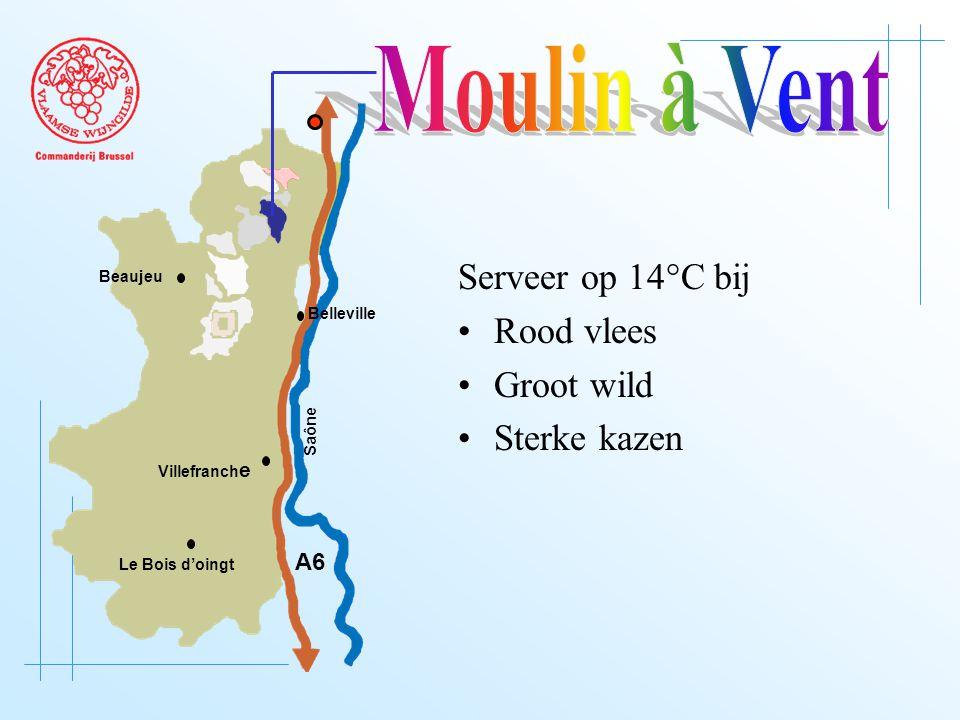 A6 Saône Belleville Le Bois d'oingt Villefranch e Beaujeu Serveer op 14°C bij Rood vlees Groot wild Sterke kazen