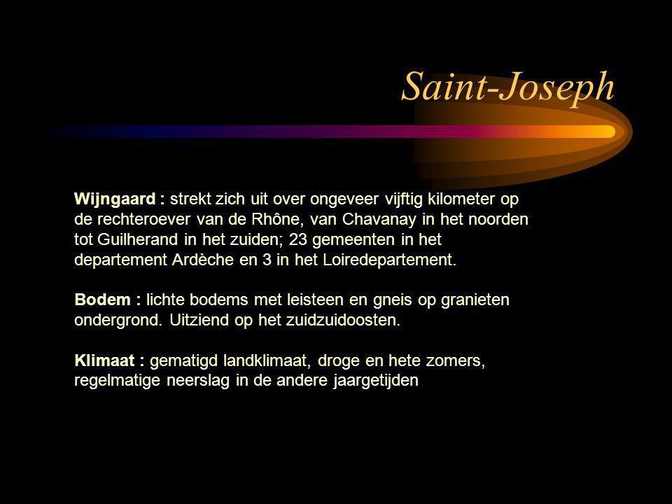 Saint-Joseph Wijngaard : strekt zich uit over ongeveer vijftig kilometer op de rechteroever van de Rhône, van Chavanay in het noorden tot Guilherand i