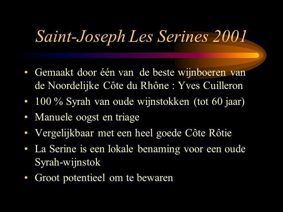 Saint-Joseph Les Serines 2001 Gemaakt door één van de beste wijnboeren van de Noordelijke Côte du Rhône : Yves Cuilleron 100 % Syrah van oude wijnstok