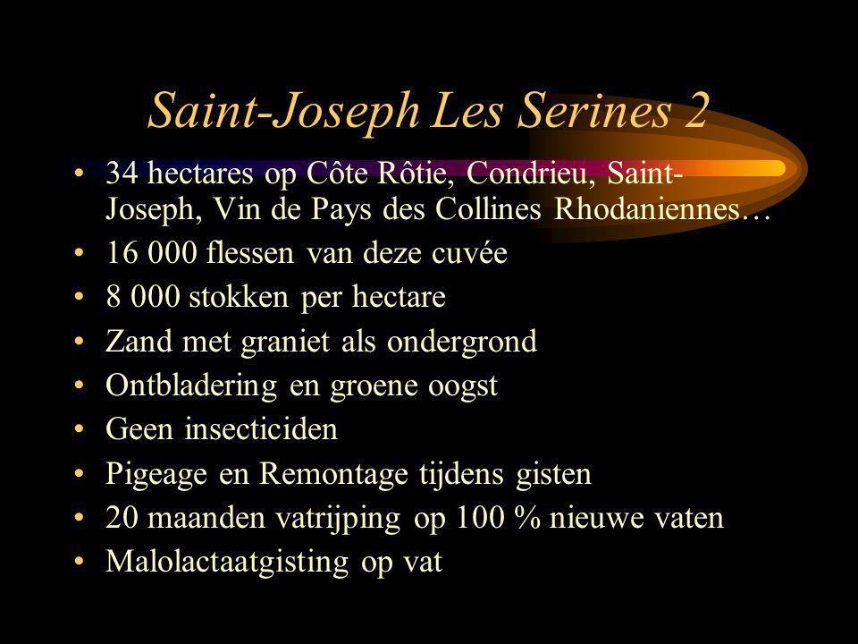 Saint-Joseph Les Serines 2 34 hectares op Côte Rôtie, Condrieu, Saint- Joseph, Vin de Pays des Collines Rhodaniennes… 16 000 flessen van deze cuvée 8