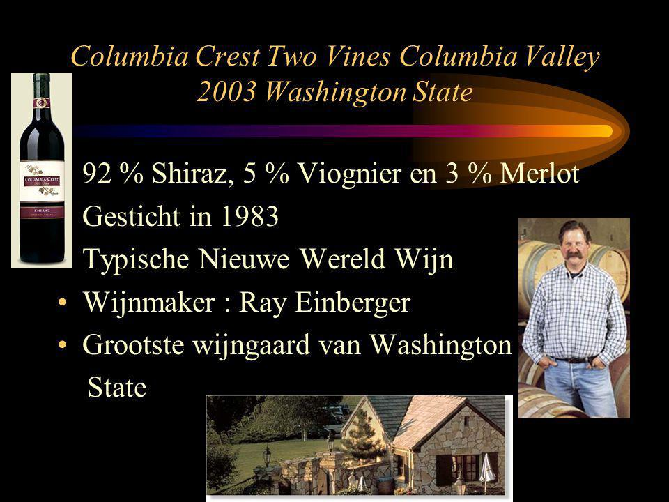 Columbia Crest Two Vines Columbia Valley 2003 Washington State 92 % Shiraz, 5 % Viognier en 3 % Merlot Gesticht in 1983 Typische Nieuwe Wereld Wijn Wijnmaker : Ray Einberger Grootste wijngaard van Washington State