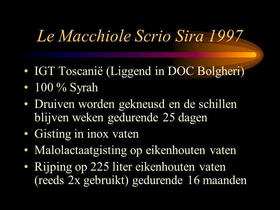 Le Macchiole Scrio Sira 1997 IGT Toscanië (Liggend in DOC Bolgheri) 100 % Syrah Druiven worden gekneusd en de schillen blijven weken gedurende 25 dagen Gisting in inox vaten Malolactaatgisting op eikenhouten vaten Rijping op 225 liter eikenhouten vaten (reeds 2x gebruikt) gedurende 16 maanden