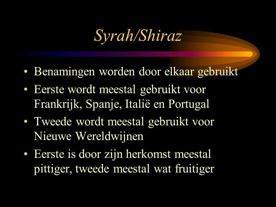 Syrah/Shiraz Benamingen worden door elkaar gebruikt Eerste wordt meestal gebruikt voor Frankrijk, Spanje, Italië en Portugal Tweede wordt meestal gebruikt voor Nieuwe Wereldwijnen Eerste is door zijn herkomst meestal pittiger, tweede meestal wat fruitiger
