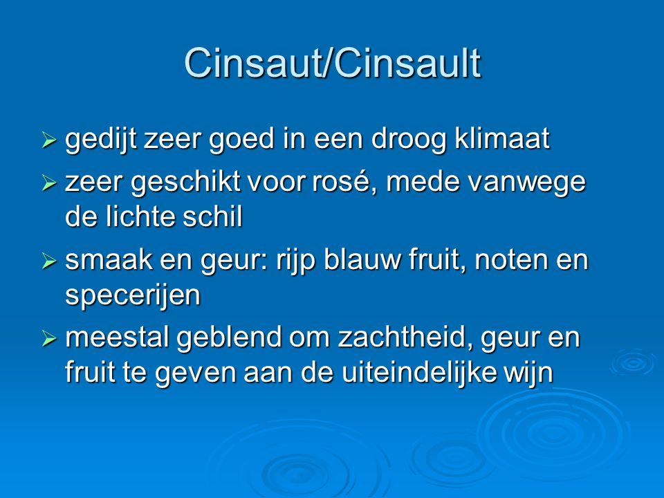 Cinsaut/Cinsault  gedijt zeer goed in een droog klimaat  zeer geschikt voor rosé, mede vanwege de lichte schil  smaak en geur: rijp blauw fruit, noten en specerijen  meestal geblend om zachtheid, geur en fruit te geven aan de uiteindelijke wijn