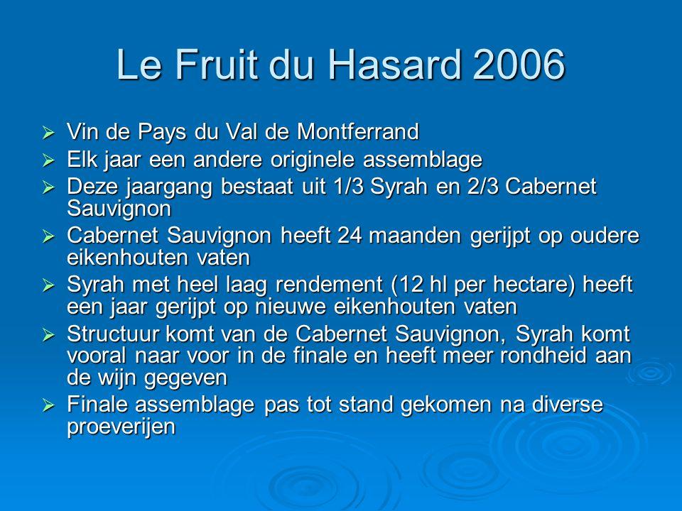Le Fruit du Hasard 2006  Vin de Pays du Val de Montferrand  Elk jaar een andere originele assemblage  Deze jaargang bestaat uit 1/3 Syrah en 2/3 Ca