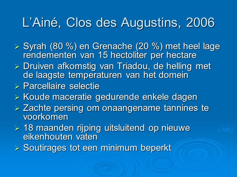 L'Ainé, Clos des Augustins, 2006  Syrah (80 %) en Grenache (20 %) met heel lage rendementen van 15 hectoliter per hectare  Druiven afkomstig van Triadou, de helling met de laagste temperaturen van het domein  Parcellaire selectie  Koude maceratie gedurende enkele dagen  Zachte persing om onaangename tannines te voorkomen  18 maanden rijping uitsluitend op nieuwe eikenhouten vaten  Soutirages tot een minimum beperkt