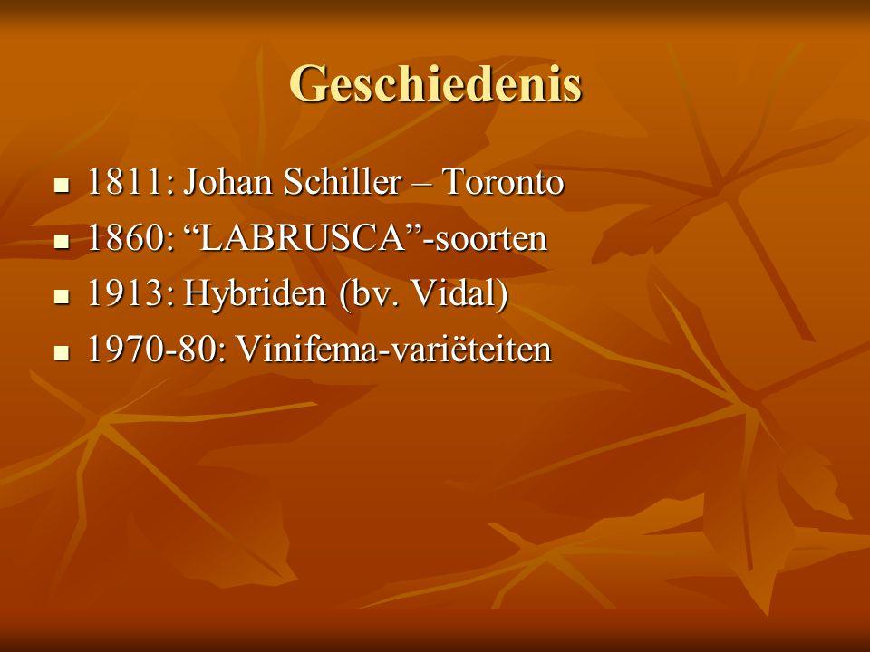 """Geschiedenis 1811: Johan Schiller – Toronto 1811: Johan Schiller – Toronto 1860: """"LABRUSCA""""-soorten 1860: """"LABRUSCA""""-soorten 1913: Hybriden (bv. Vidal"""