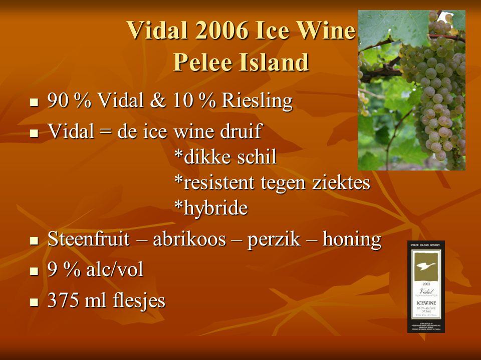 Vidal 2006 Ice Wine Pelee Island 90 % Vidal & 10 % Riesling 90 % Vidal & 10 % Riesling Vidal = de ice wine druif *dikke schil *resistent tegen ziektes *hybride Vidal = de ice wine druif *dikke schil *resistent tegen ziektes *hybride Steenfruit – abrikoos – perzik – honing Steenfruit – abrikoos – perzik – honing 9 % alc/vol 9 % alc/vol 375 ml flesjes 375 ml flesjes