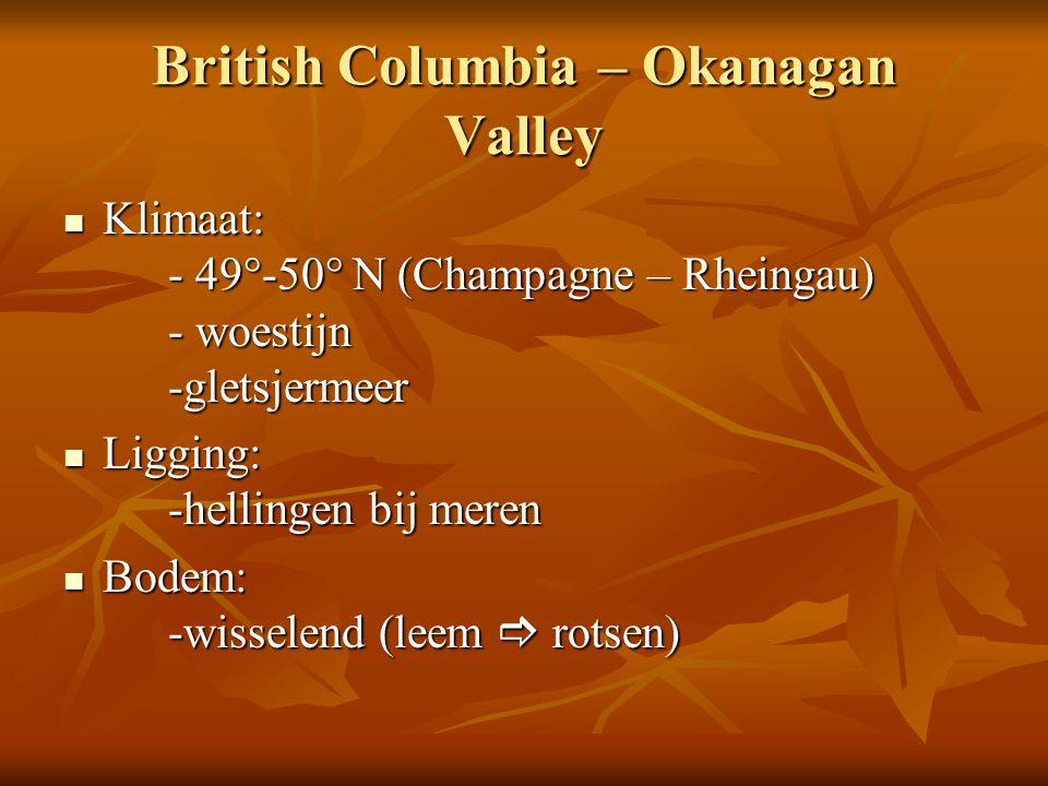 British Columbia – Okanagan Valley Klimaat: - 49°-50° N (Champagne – Rheingau) - woestijn -gletsjermeer Klimaat: - 49°-50° N (Champagne – Rheingau) -