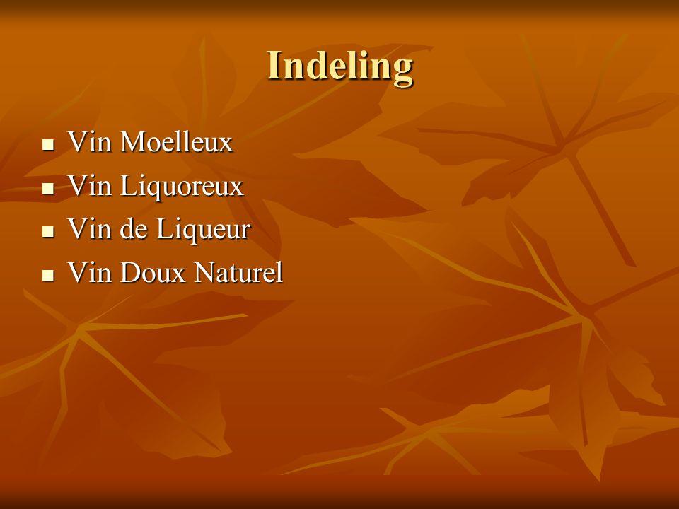 Indeling Vin Moelleux Vin Moelleux Vin Liquoreux Vin Liquoreux Vin de Liqueur Vin de Liqueur Vin Doux Naturel Vin Doux Naturel
