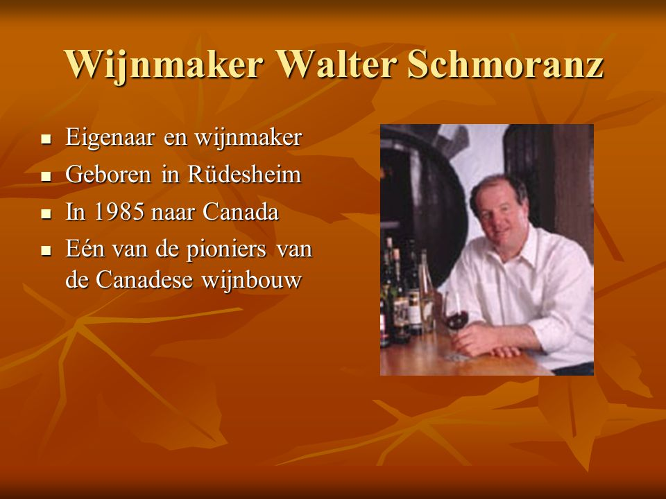 Wijnmaker Walter Schmoranz Eigenaar en wijnmaker Eigenaar en wijnmaker Geboren in Rüdesheim Geboren in Rüdesheim In 1985 naar Canada In 1985 naar Cana