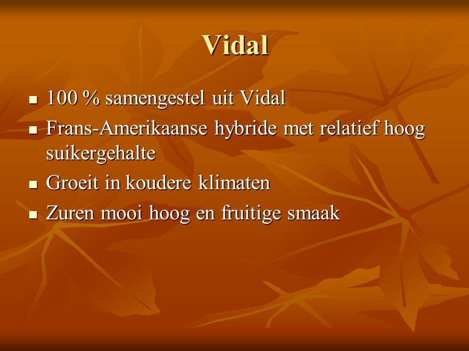 Vidal 100 % samengestel uit Vidal 100 % samengestel uit Vidal Frans-Amerikaanse hybride met relatief hoog suikergehalte Frans-Amerikaanse hybride met
