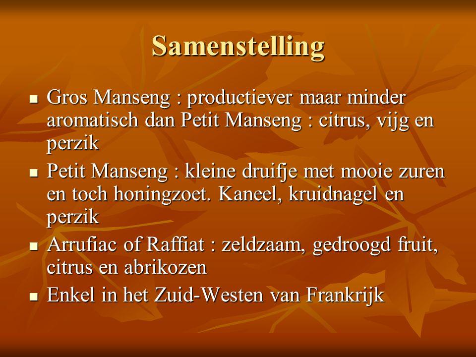 Samenstelling Gros Manseng : productiever maar minder aromatisch dan Petit Manseng : citrus, vijg en perzik Gros Manseng : productiever maar minder ar