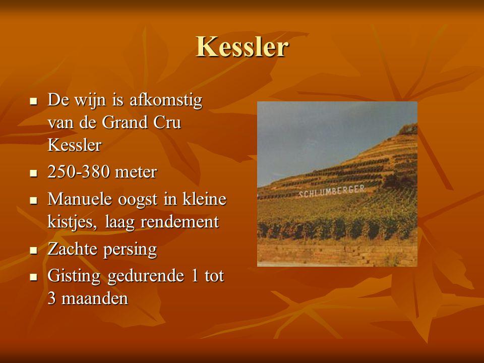 Kessler De wijn is afkomstig van de Grand Cru Kessler De wijn is afkomstig van de Grand Cru Kessler 250-380 meter 250-380 meter Manuele oogst in klein