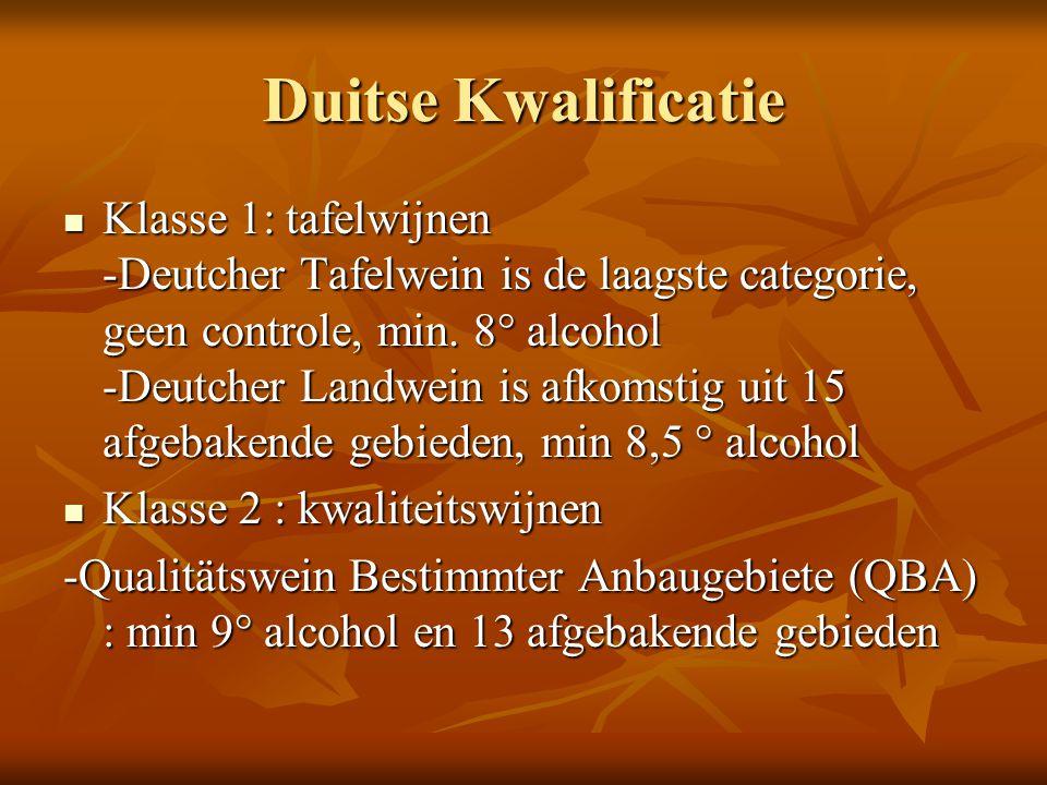 Duitse Kwalificatie Klasse 1: tafelwijnen -Deutcher Tafelwein is de laagste categorie, geen controle, min. 8° alcohol -Deutcher Landwein is afkomstig