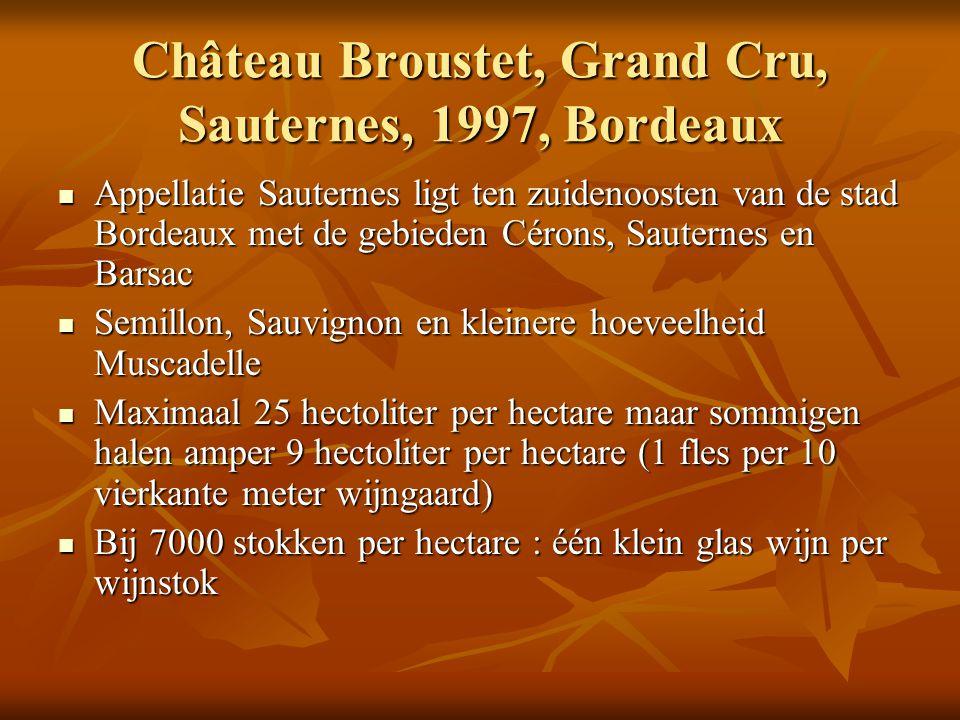 Château Broustet, Grand Cru, Sauternes, 1997, Bordeaux Appellatie Sauternes ligt ten zuidenoosten van de stad Bordeaux met de gebieden Cérons, Sautern