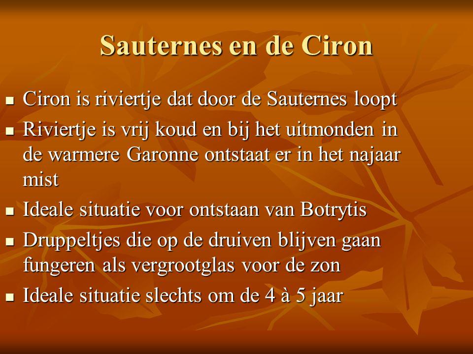 Sauternes en de Ciron Ciron is riviertje dat door de Sauternes loopt Ciron is riviertje dat door de Sauternes loopt Riviertje is vrij koud en bij het