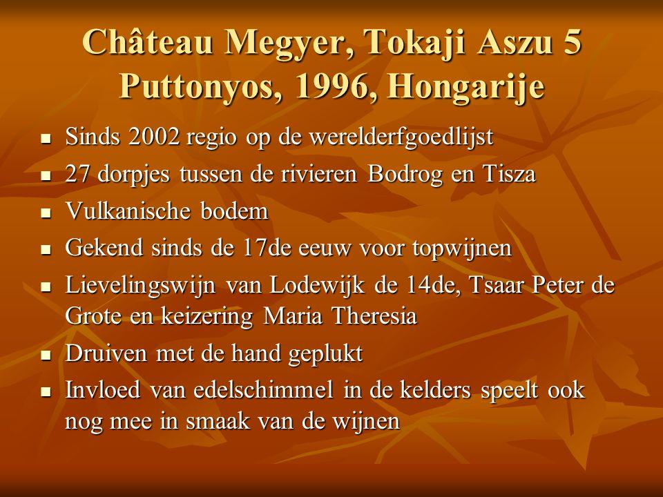 Château Megyer, Tokaji Aszu 5 Puttonyos, 1996, Hongarije Sinds 2002 regio op de werelderfgoedlijst Sinds 2002 regio op de werelderfgoedlijst 27 dorpje