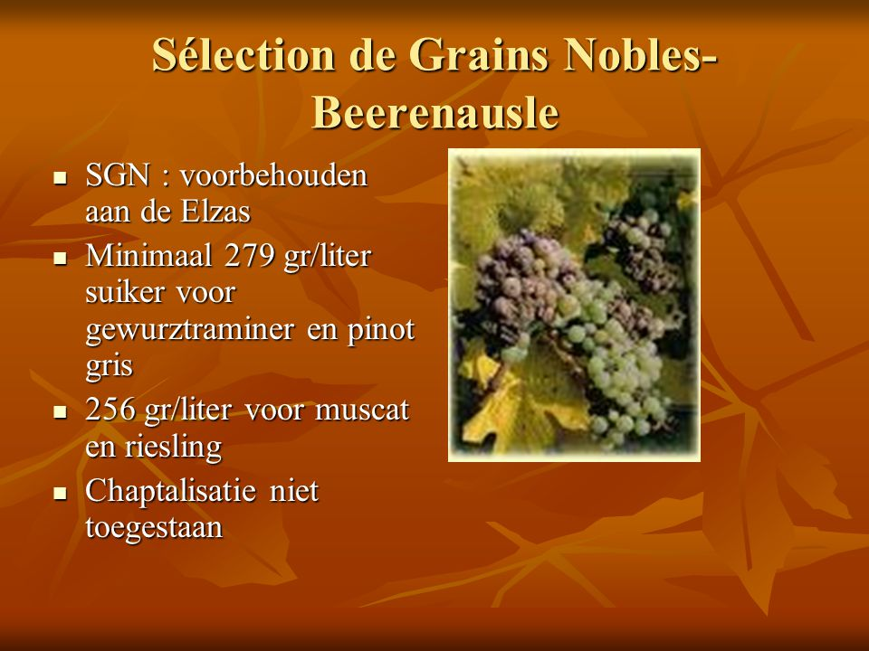 Sélection de Grains Nobles- Beerenausle SGN : voorbehouden aan de Elzas SGN : voorbehouden aan de Elzas Minimaal 279 gr/liter suiker voor gewurztramin