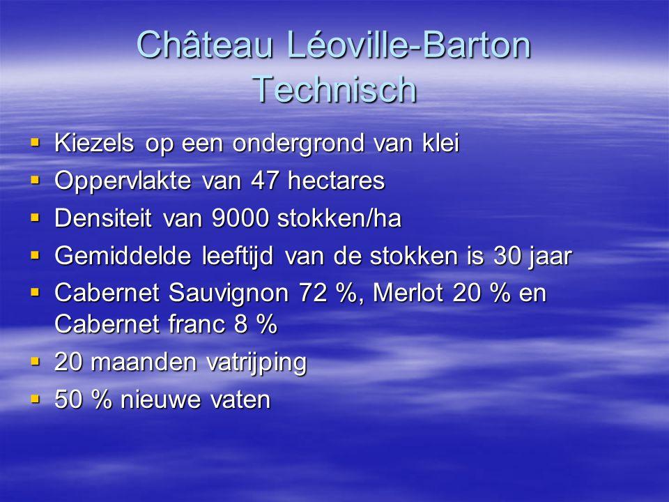 Château Léoville-Barton Technisch  Kiezels op een ondergrond van klei  Oppervlakte van 47 hectares  Densiteit van 9000 stokken/ha  Gemiddelde leeftijd van de stokken is 30 jaar  Cabernet Sauvignon 72 %, Merlot 20 % en Cabernet franc 8 %  20 maanden vatrijping  50 % nieuwe vaten
