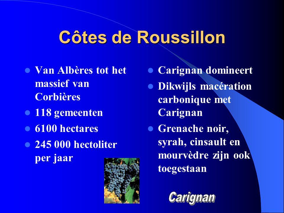 Côtes de Roussillon Van Albères tot het massief van Corbières 118 gemeenten 6100 hectares 245 000 hectoliter per jaar Carignan domineert Dikwijls macé